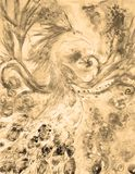 Sepia vintage Phoenix in fire and flame. Sepia vintage Phoenix in fire and flame . The dabbing technique near the edges gives a soft focus effect due to the Stock Images