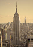 Sepia and vintage picture of NY downtown Stock Photos