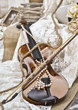 Sepia vintage violin - wedding decoration Stock Photography