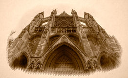 Sepia Vision of North Facade Westminster Abbey London Stock Photo