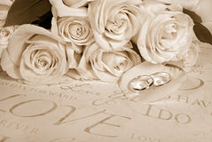 Sepia Wedding Roses And Rings Stock Photo