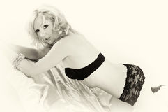 Sepia woman in lace panties. Vintage looking sepia toned image of blonde pin up girl in lace panties looking at viewer Stock Image