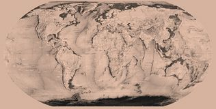 Sepia world map Royalty Free Stock Photos