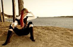 Sepiaabbildung eines Piratenmädchens Stockbild