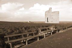Sepiabänke und -weg zu Ballybunions-Schloss Stockfoto