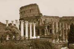 Sepiabilden av kolonner av forumet och Colosseumen eller Roman Coliseum på skymning med den strimmiga bilen tänder, ursprungligen Arkivbilder