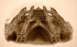 Sepiavision av den norr fasaden Westminster Abbey London Arkivfoto