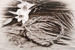 Sepiowe Stonowane Wielkanocne ikony Zdjęcie Stock