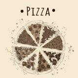 Sepiowy obrazek pizza Zdjęcie Stock