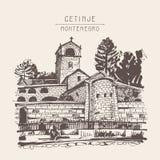 Sepiowy ręka rysunek Cetinje monaster - antyczny kapitał w Mon ilustracji