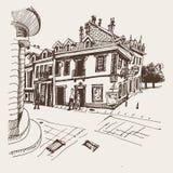 Sepiowy ręka rysunek Cetinje ulica - antyczny kapitał w Monten ilustracji