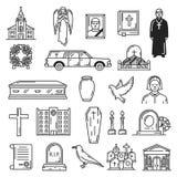 Sepoltura e cerimonia della sepoltura, icone funeree illustrazione vettoriale