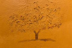 Seppia Art Painting monocromatico: Singolo albero Fotografie Stock