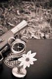 Seppia concettuale della pistola dell'orologio marcatempo del fiore Immagine Stock