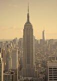 Seppia ed immagine dell'annata di NY del centro Fotografie Stock