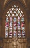 Seppia isolata di signora Chapel Wells Cathedral del vetro macchiato fotografie stock libere da diritti