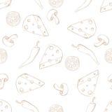 Seppia senza cuciture del modello degli ingredienti della pizza su bianco Fotografia Stock