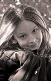 Seppia sveglia della bambina Fotografia Stock