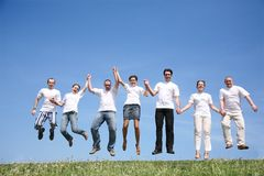 Sept amis Photo libre de droits