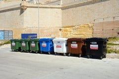 Sept bacs de recyclage, Vittoriosa Photos libres de droits