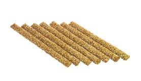 Sept batons de pain croquants avec le sésame Photos stock