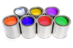 Sept bidons de peinture Images stock