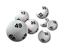 Sept billes de loterie Photographie stock