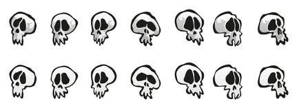 Sept crânes Image libre de droits
