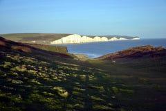 Sept falaises de craie de soeurs, le Sussex est, Angleterre Photo stock