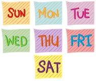 Sept jours de la semaine illustration de vecteur