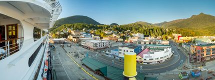 Sept 17, 2018 - Ketchikan, AK: Elevated view, cruise ship docks, from The Volendam at sunset. Sept 17, 2018 - Ketchikan, AK: Elevated view, cruise ship docks stock image