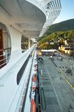 Sept 17, 2018 - Ketchikan, AK: Elevated view of side of cruise ship The Volendam in port, early evening. Sept 17, 2018 - Ketchikan, AK: Elevated view of side of stock images