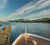 Sept 17, 2018 - Ketchikan, AK: Emptying docks and cruise ship bow at sunset in Tongass Channel. Sept 17, 2018 - Ketchikan, AK: Elevated view of emptying dock stock photography