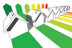 Sept maisons Photo libre de droits