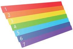 Sept numérotés arc-en-ciel dimensionnel Photos libres de droits