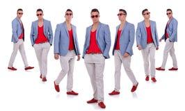 Sept poses d'un jeune modèle de mode Image stock