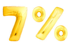 Sept pour cent d'or faits de ballons gonflables Photographie stock