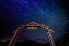 SEPT 16, 2018 - RIDGWAY COLORADO USA - Milkyway Stars over Aspen View Ranch gate, Ridgway Colorado, owned by photographer Joe Sohm stock photos