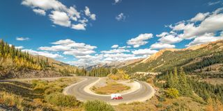 SEPT 18, 2018 - ROUTE 550 SILVERTON, COLORADO, USA - Circular elevated view of Colorado State Highway 550, known as Million royalty free stock photo