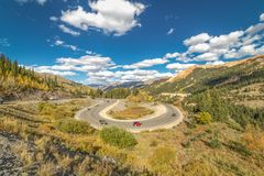 SEPT 18, 2018 - ROUTE 550 SILVERTON, COLORADO, USA - Circular elevated view of Colorado State Highway 550, known as Million stock image
