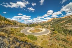 SEPT 18, 2018 - ROUTE 550 SILVERTON, COLORADO, USA - Circular elevated view of Colorado State Highway 550, known as Million royalty free stock photography