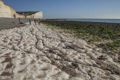Sept soeurs, East Sussex, Angleterre - la plage et les falaises de craie images stock