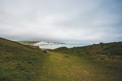 Sept soeurs marquent des falaises à la craie le Sussex est Angleterre R-U images stock