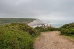 Sept soeurs marquent des falaises à la craie le Sussex est Angleterre R-U photo libre de droits