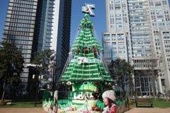 Sept vers le haut de l'arbre de Noël à Changhaï Photographie stock libre de droits