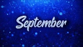 September önskar blå text partikelhälsningar, inbjudan, berömbakgrund