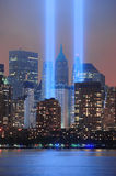 September 11 Tribute. City night view with light beam  lit at the site of  World Trade Center on September 11, 2011 in Manhattan, New York City Stock Photo