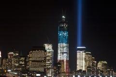 September 11 tribute lights. A shot of the tribute light on September 11, 2012 Stock Photography