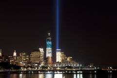 September 11 tribute lights. A shot of the tribute light on September 11, 2012 Royalty Free Stock Photos