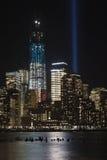 September 11 tribute lights. A shot of the tribute light on September 11, 2012 Stock Photo